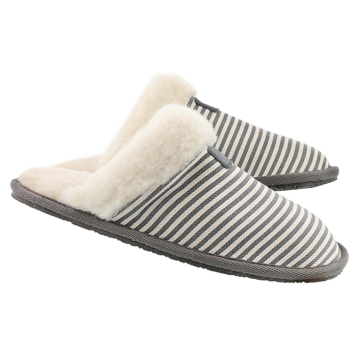 Lds Stacey grey stripe mem. foam slipper