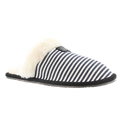 SoftMoc Women's STACEY navy stripe memory foam slippers