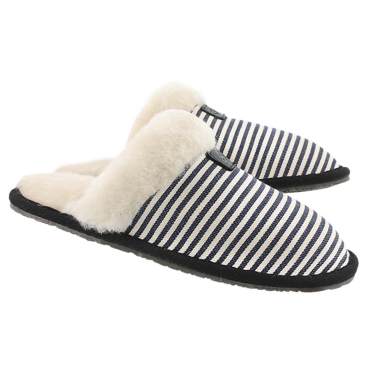 Lds Stacey navy stripe mem. foam slipper