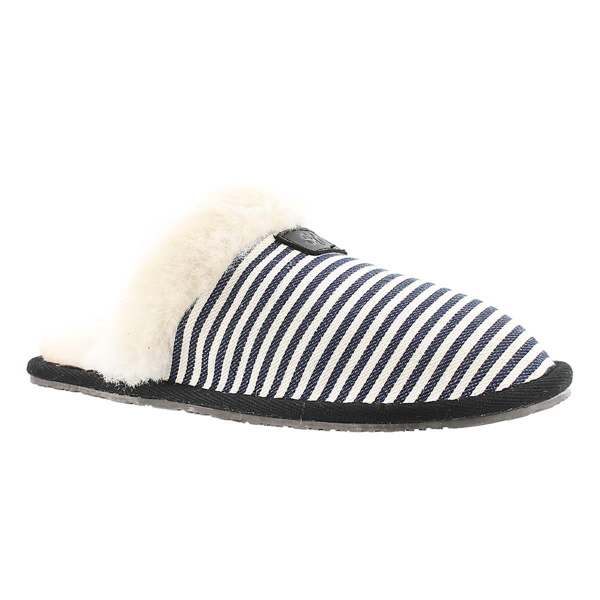 Women's STACEY navy stripe memory foam slippers