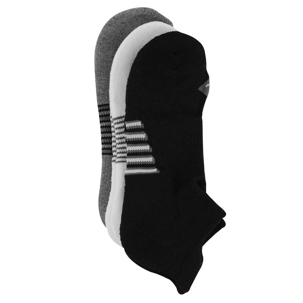 Mns Action Stripe bk/wt/gry sock- 3 pk