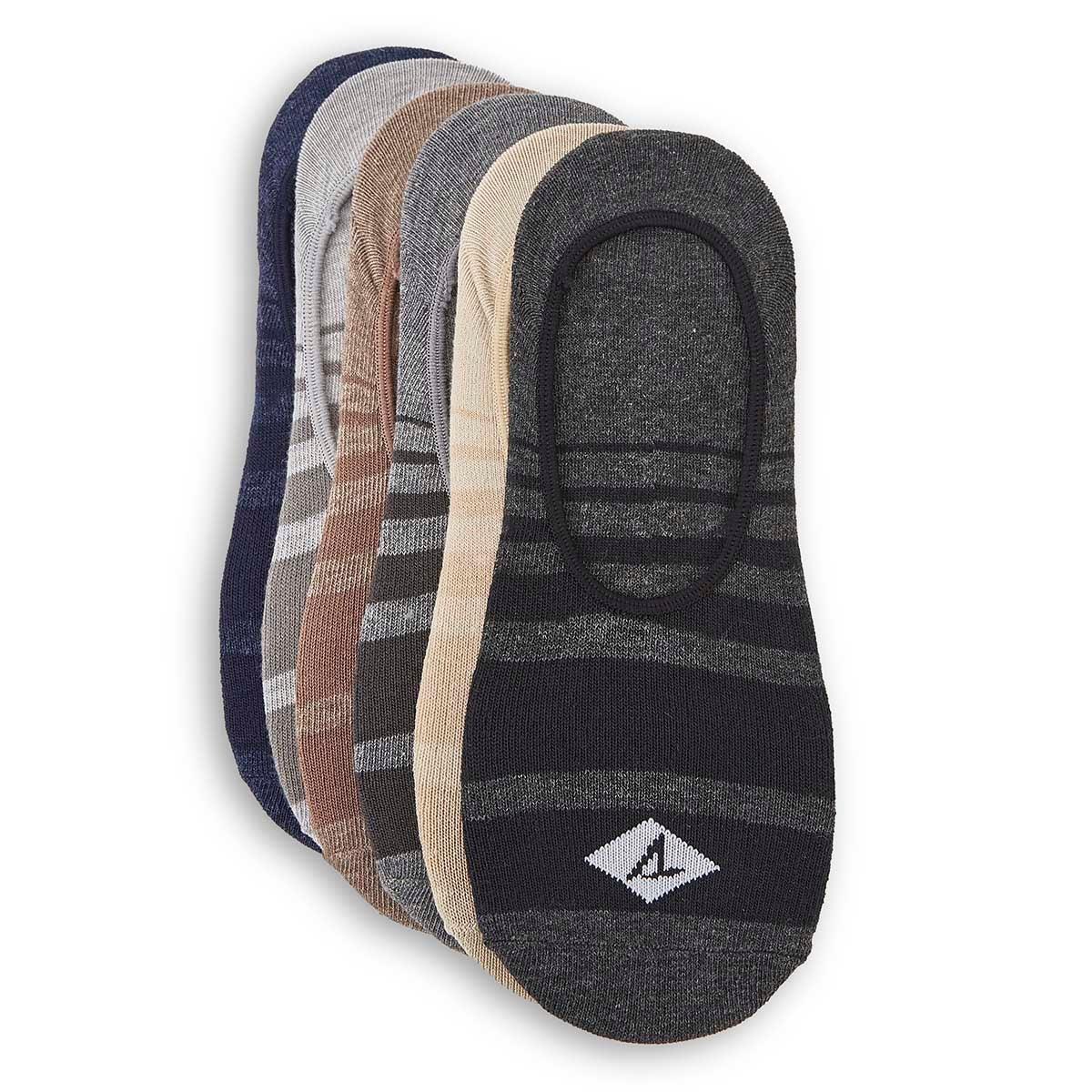 Mns Shadow Stripe blk hthr mlt sock-6 pk