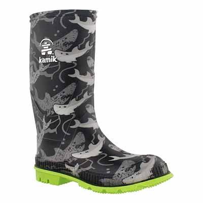 Kamik Boys' STOMP2 black print waterproof rain boots