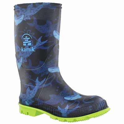 Kamik Boys' STOMP2 blue print waterproof rain boots