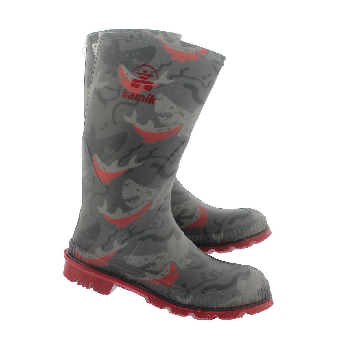 Bys Stomp2 char/red prnt wtpf rain boot