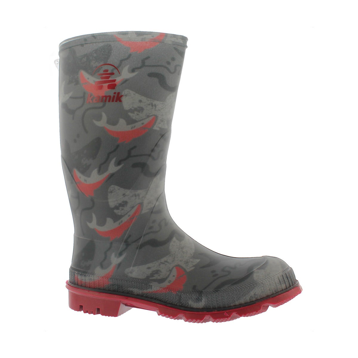 Boys' STOMP2 charcoal/red print wtpf rain boots