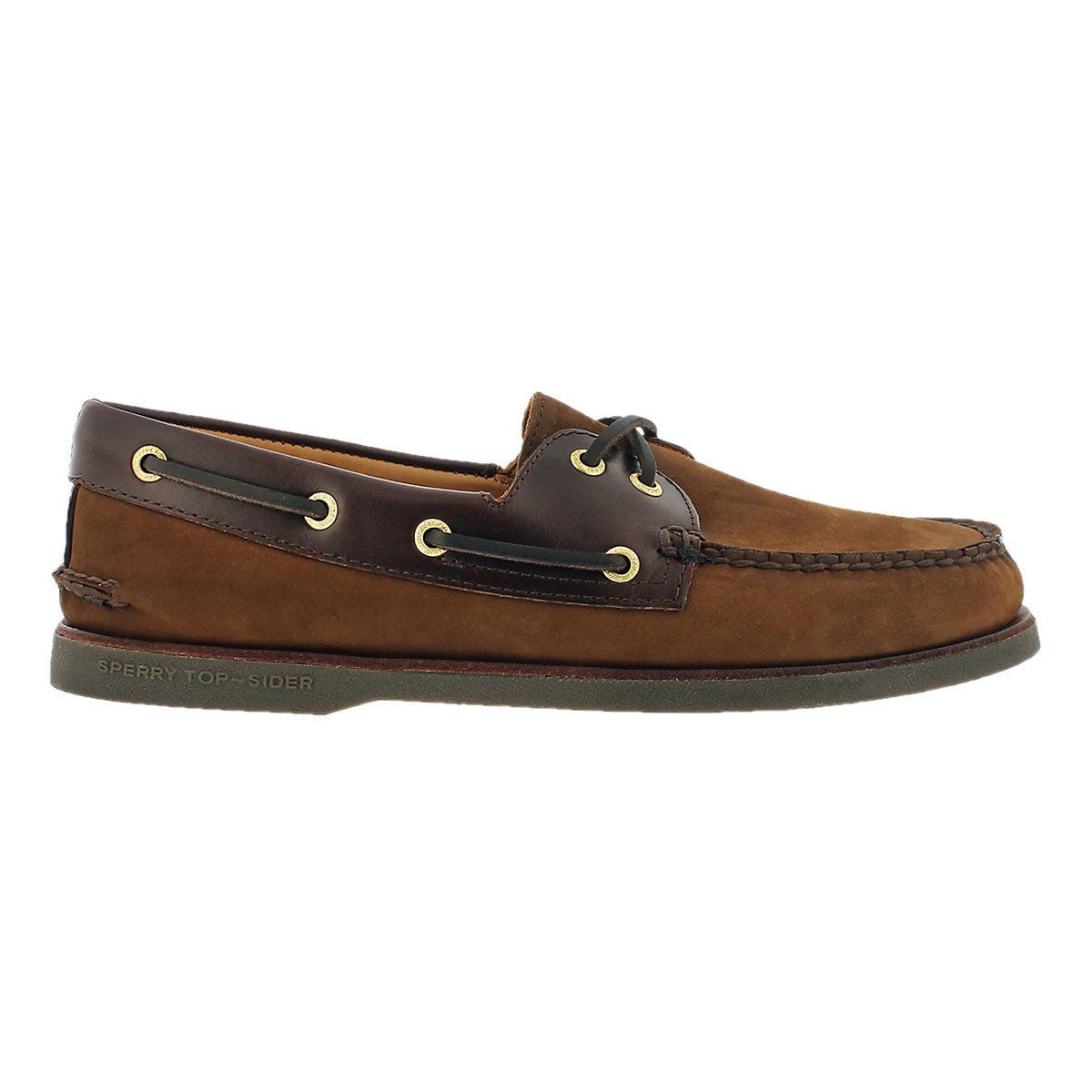 Mns Gold A/O 2-Eye brown boat shoe