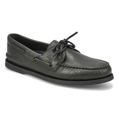 Mns A/O 2-eye black/black boat shoe