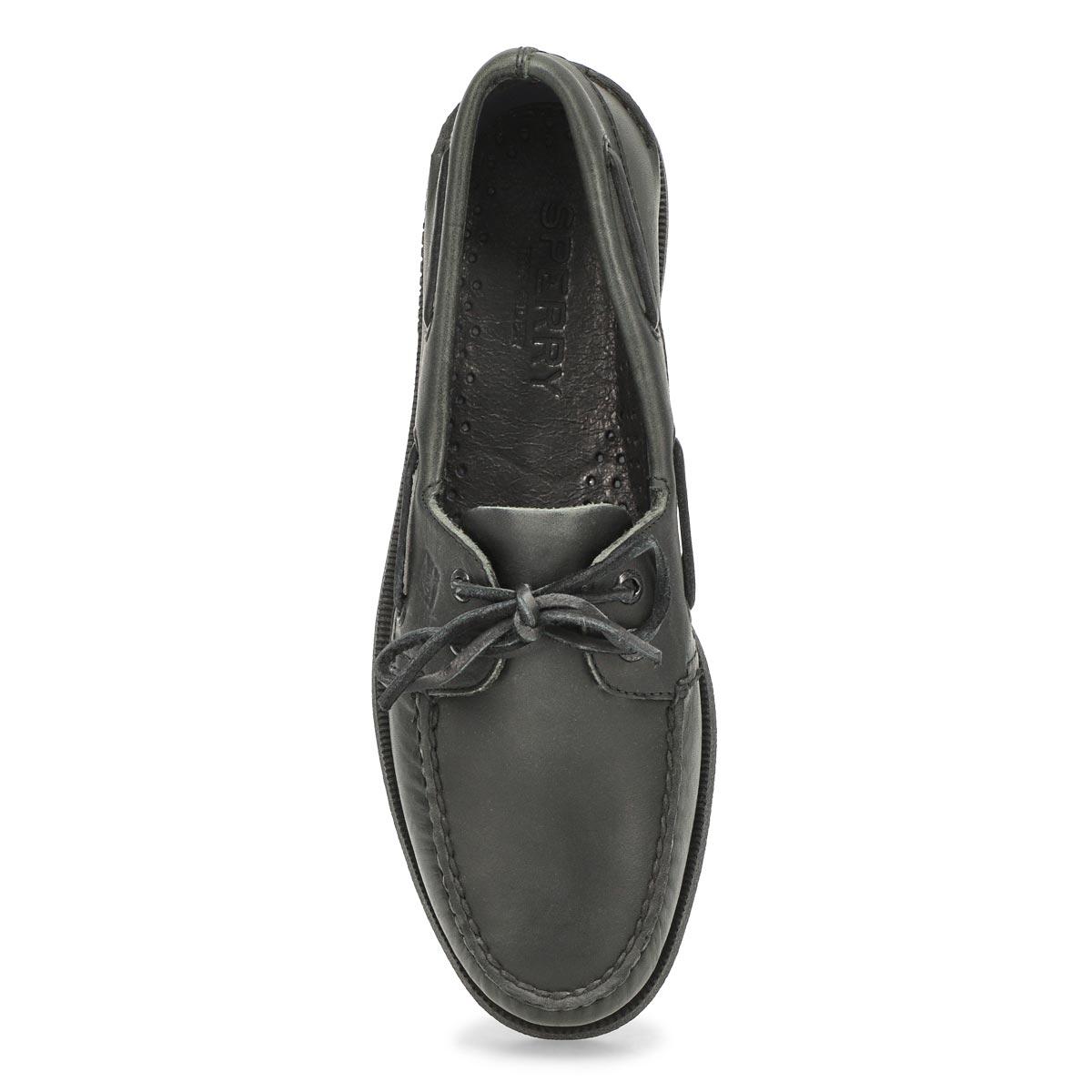 Mns A/O 2-eye black/black boat shoe