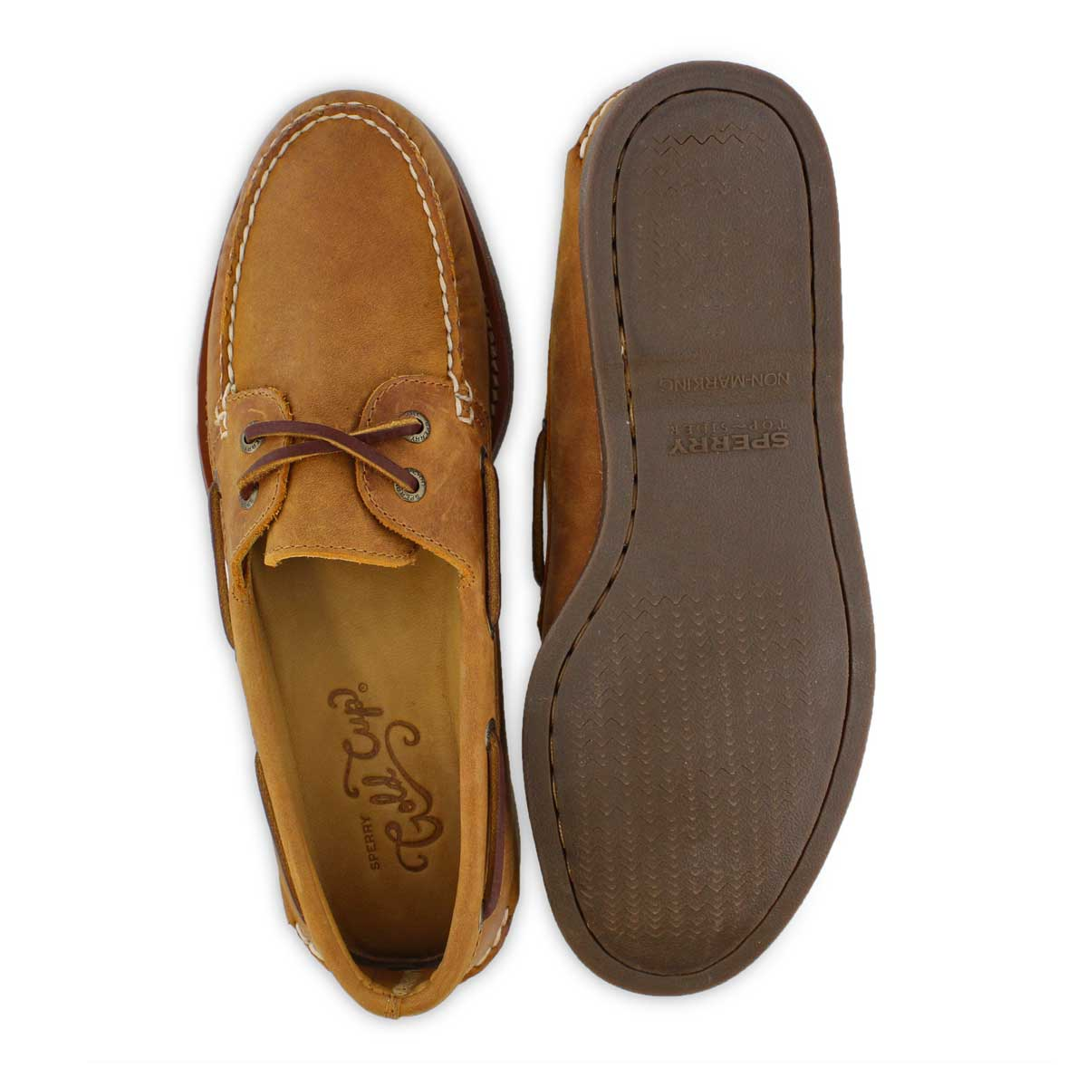 Mns Gold A/O 2-Eye tan/gum boat shoe