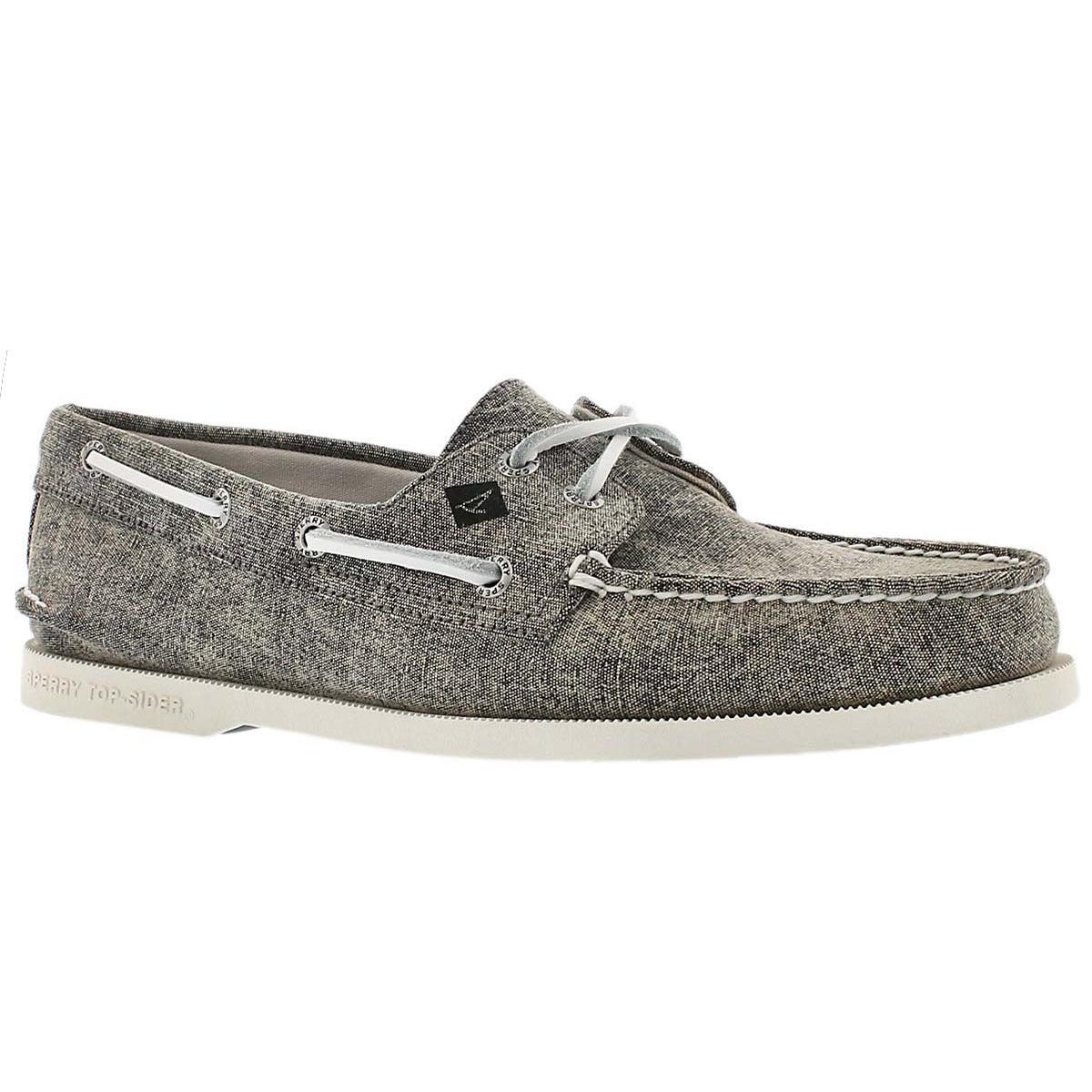 Mns A/O 2-Eye White Cap grey boat shoe