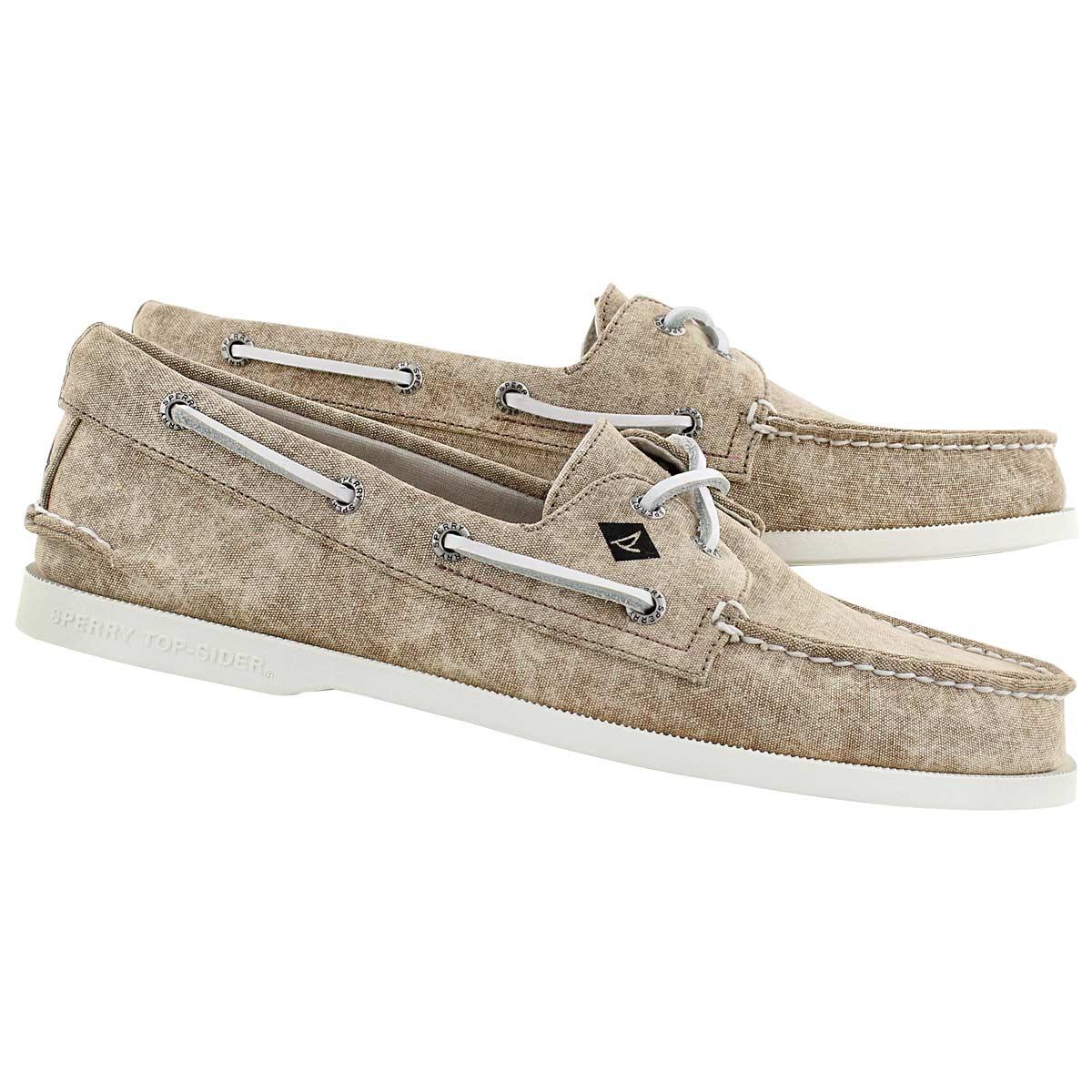 Mns A/O 2-Eye White Cap tan boat shoe