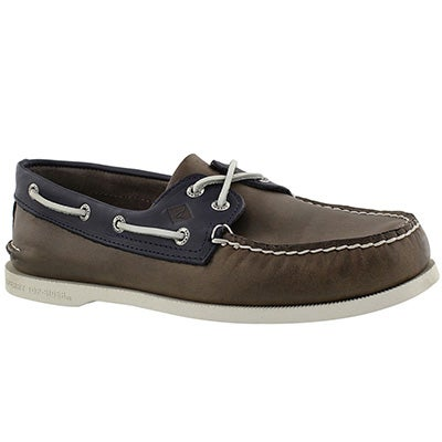 Mns A/O 2-Eye Waterloo gry/nvy boat shoe