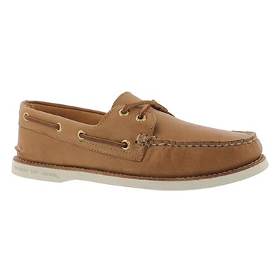 Mns Gold A/O 2-Eye tan/wht boat shoe