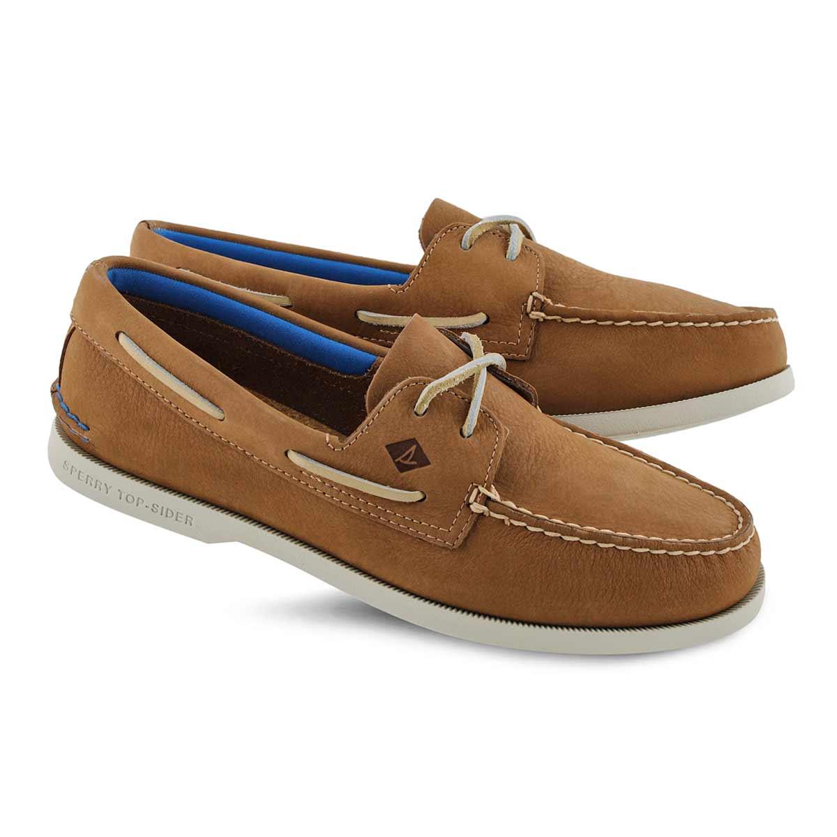 Mns AO 2Eye Plush Washable tan boat shoe