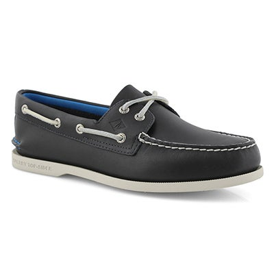 Mns A/O 2 Eye Plush navy boat shoe