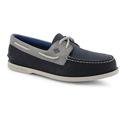 Mns AO 2Eye Plush Washable nvy boat shoe