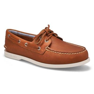 Mns A/O 2 Eye Plushwave tan boat shoe