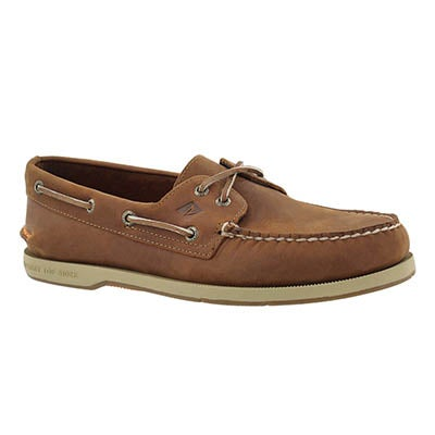 Mns Captains A/O 2-eye tan boat shoe