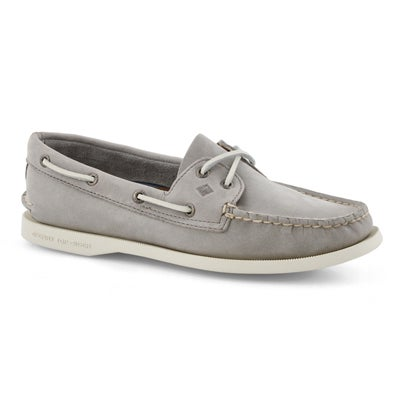 Lds A/O 2-eye grey boat shoe