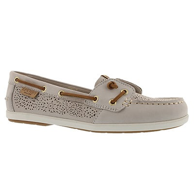 Lds Coil Ivy Geo Perf ivory boat shoe