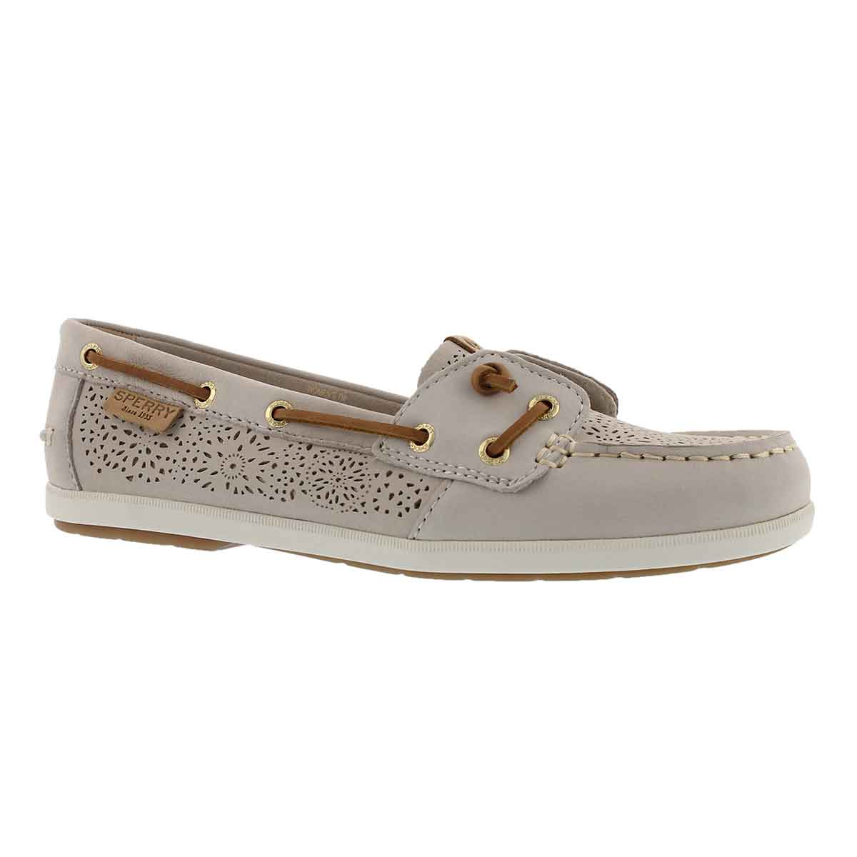 Women's COIL IVY GEO PERFORATED ivory boat shoes