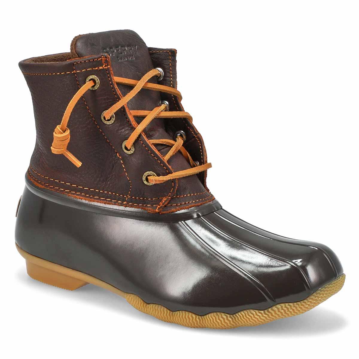 Lds Saltwater Core tan/brn low rain boot