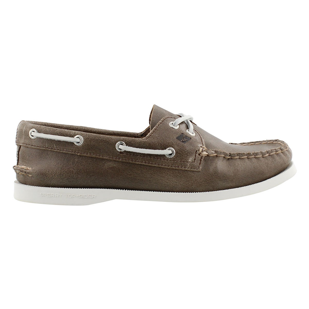 Lds A/O 2-Eye White Cap brown boat shoe