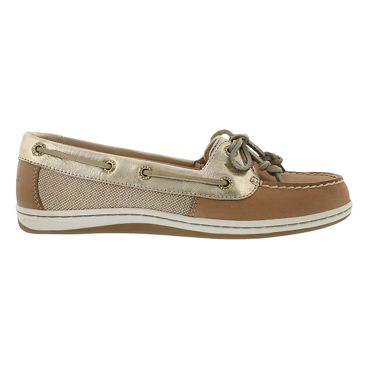 Lds Firefish linen/gold 2 Eye boat shoe