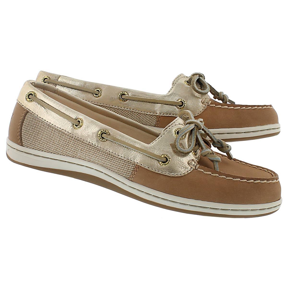 Lds Firefish linen/gold 2 Eye boat shoe