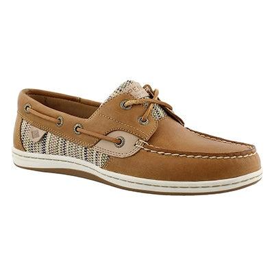 Lds Koifish Raffia Stripe tan boat shoe