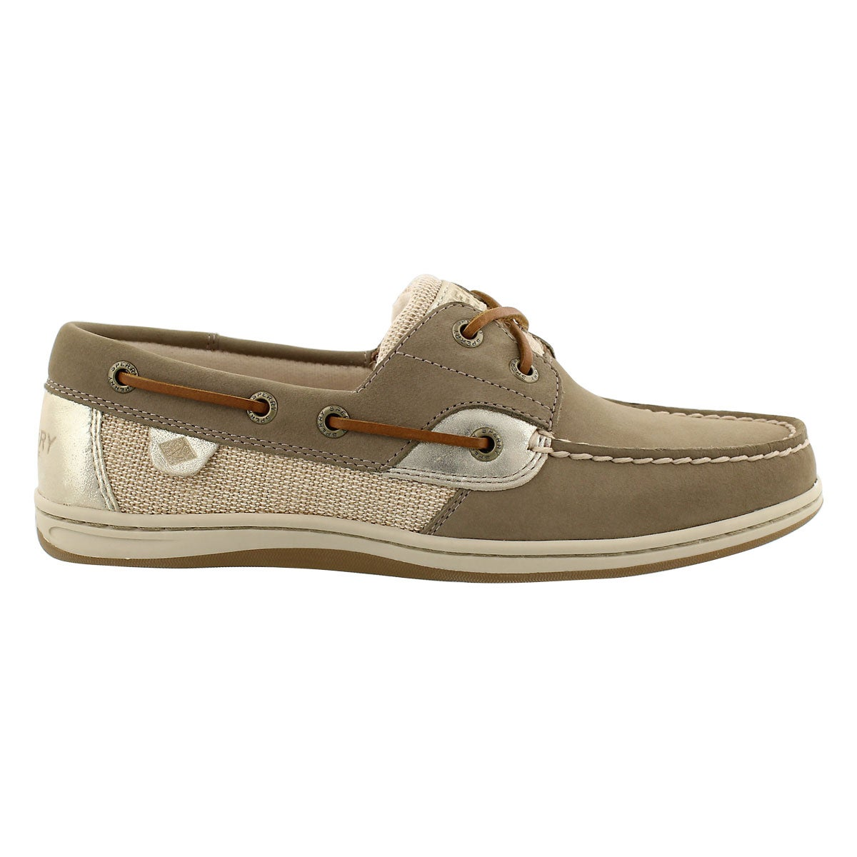 Lds Koifish Metallic taupe boat shoe