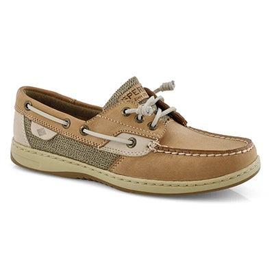 Lds Rosefish linen/oat leather boat shoe