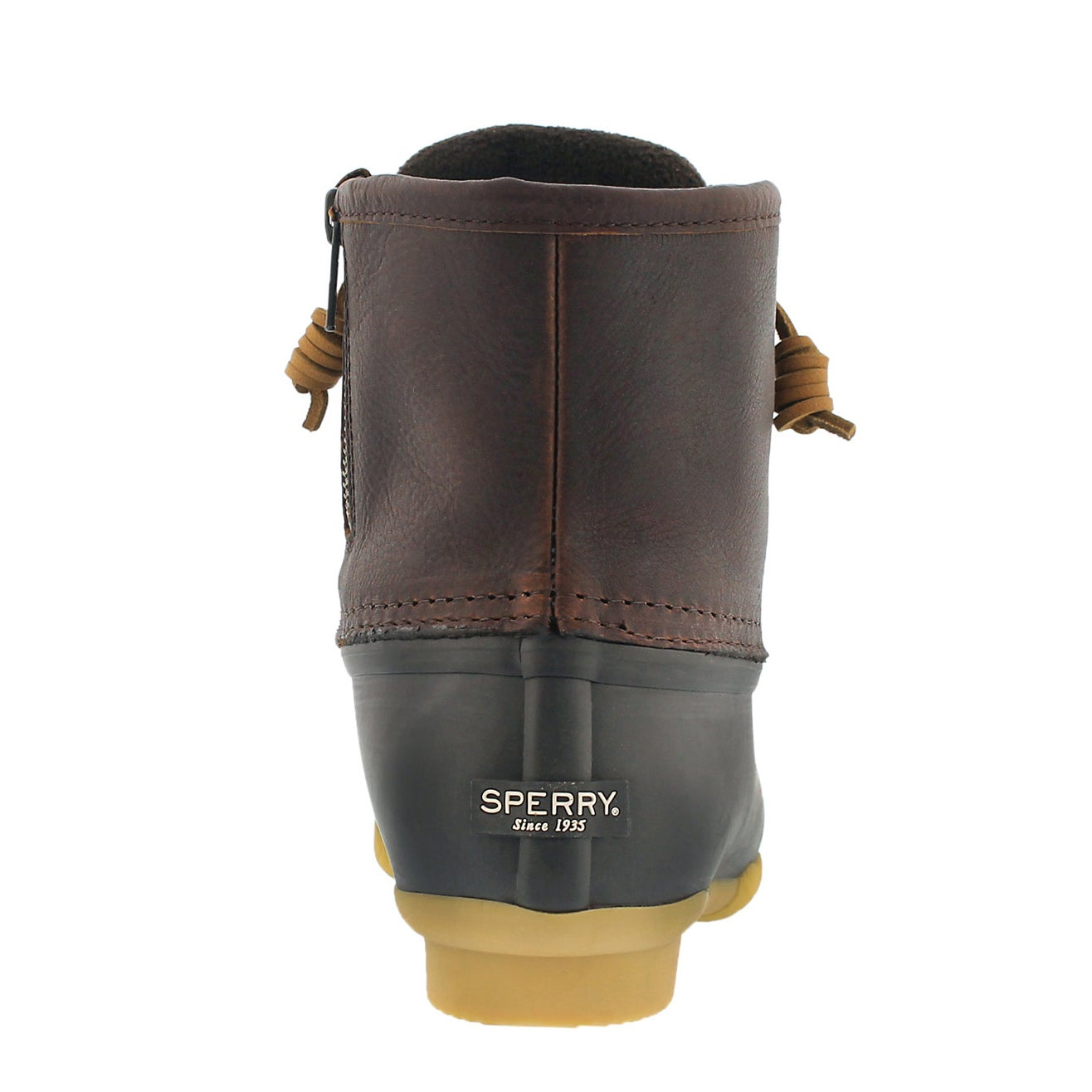 Lds Saltwater tan/brn lined rain boot