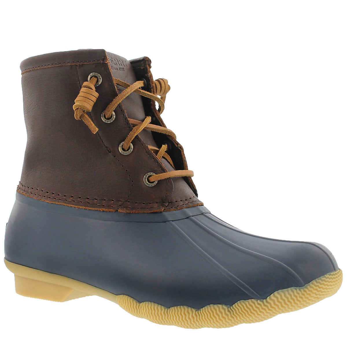 Lds Saltwater tan/nvy lined rain boot