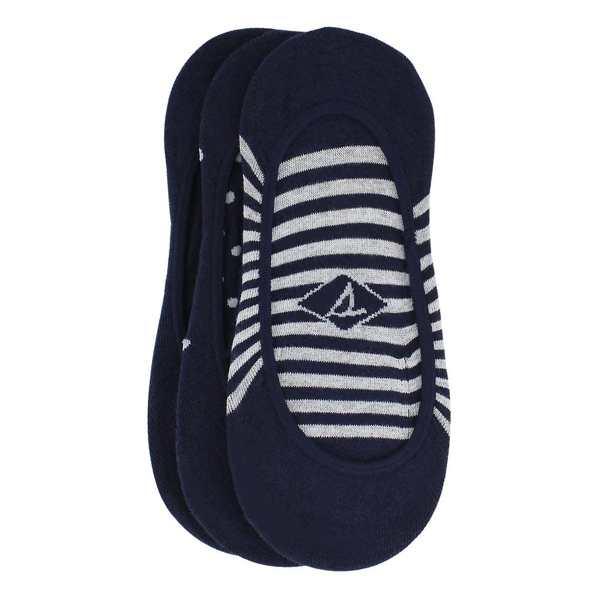 Lds Stripes & Dots navy liner- 3pk