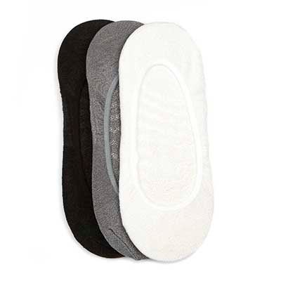 Lds Solid Shiney blk/wht/gry liner - 3pk