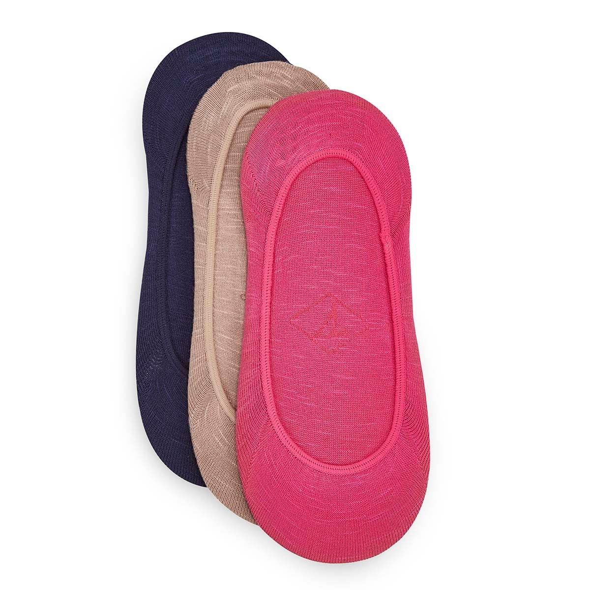 Women's PADDED SOLE pink/beige/blue liners -3 pk