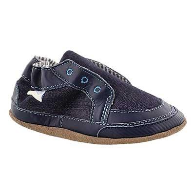 Robeez Infants' STYLISH STEVE navy soft slippers