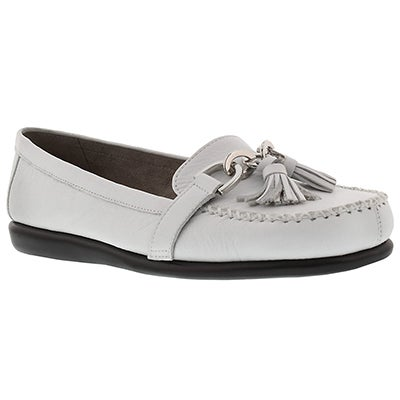 Lds Super Soft white leather loafer