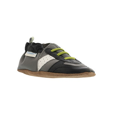 Robeez Infants' SUPER SPORTY grey/lime slippers