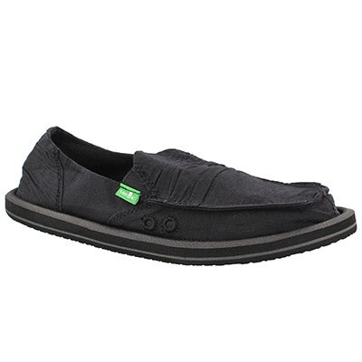 Sanuk Women's SHUFFLE black slip on shoes