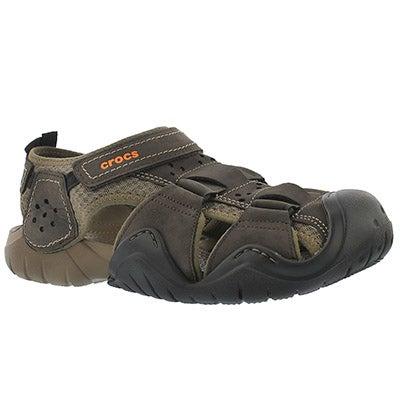 Crocs Men's SWIFTWATER espresso fisherman sandals