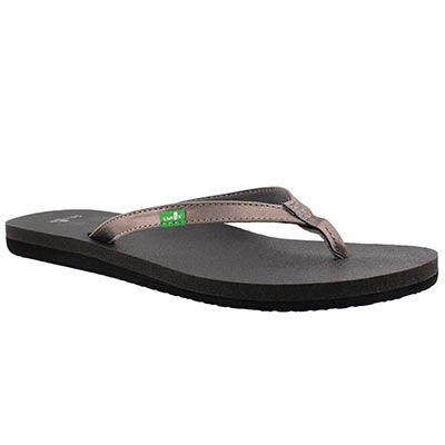 Lds YogaJoy metallic pewter flip flop
