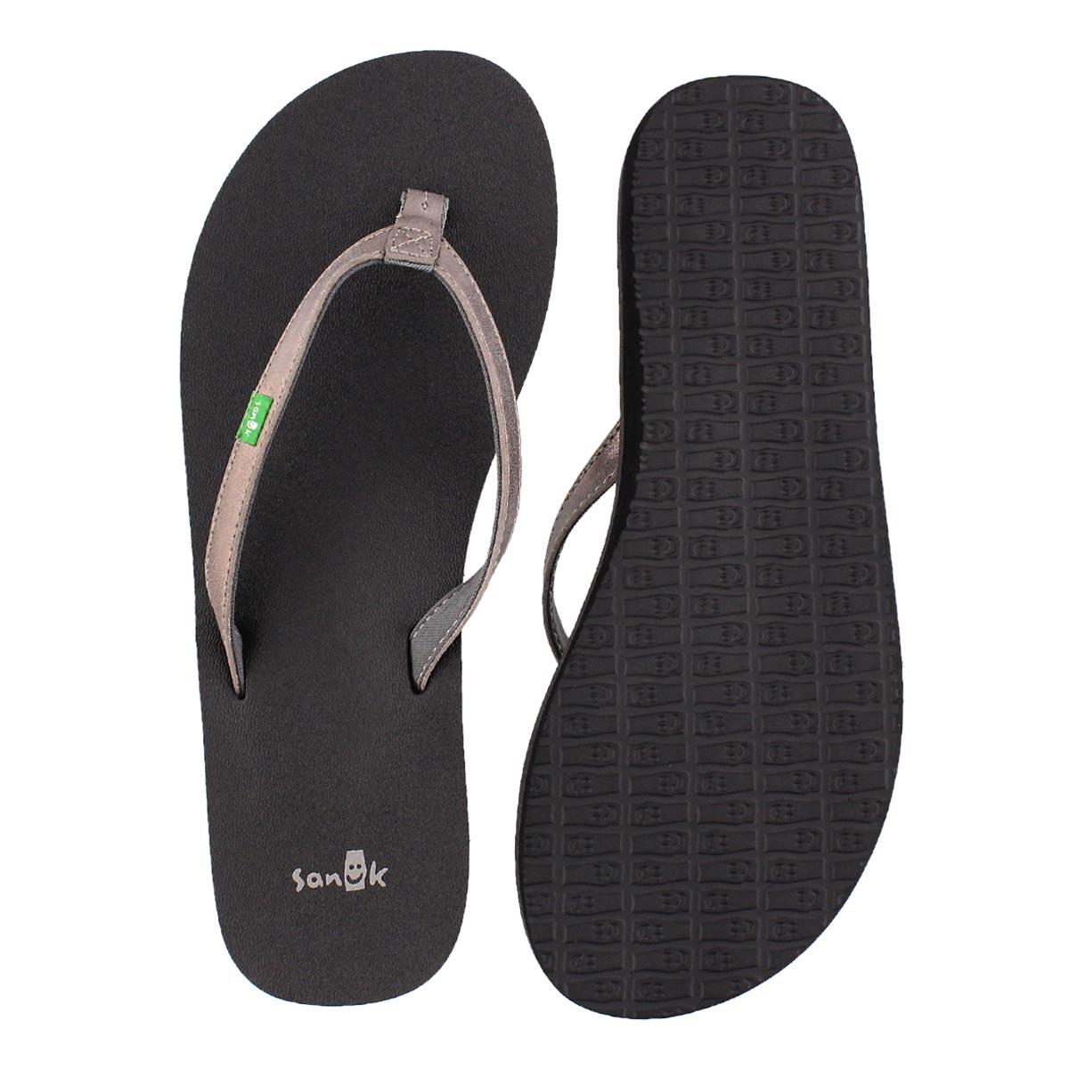 Lds YogaJoy metallic pewter flip flop