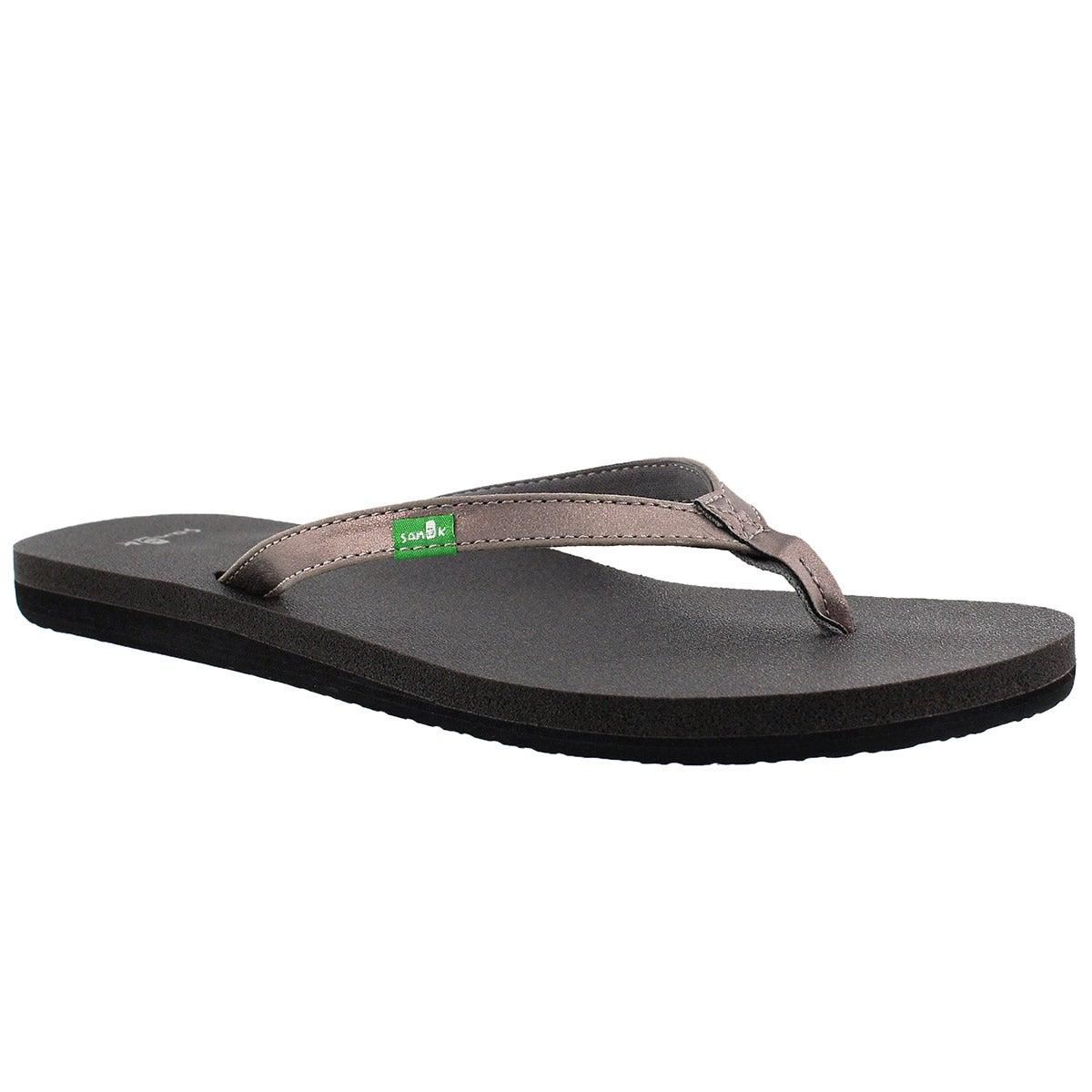 Women's YOGA JOY METALLIC pewter flip flops
