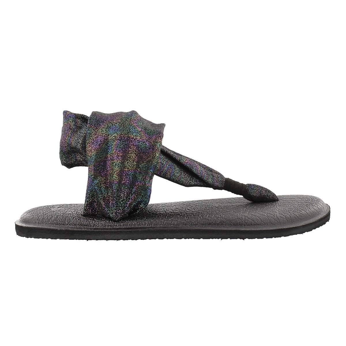 Lds YogaSling blk rainbow metallic thong