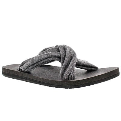Sanuk Women's YOGA X-HALE charcoal slide sandals