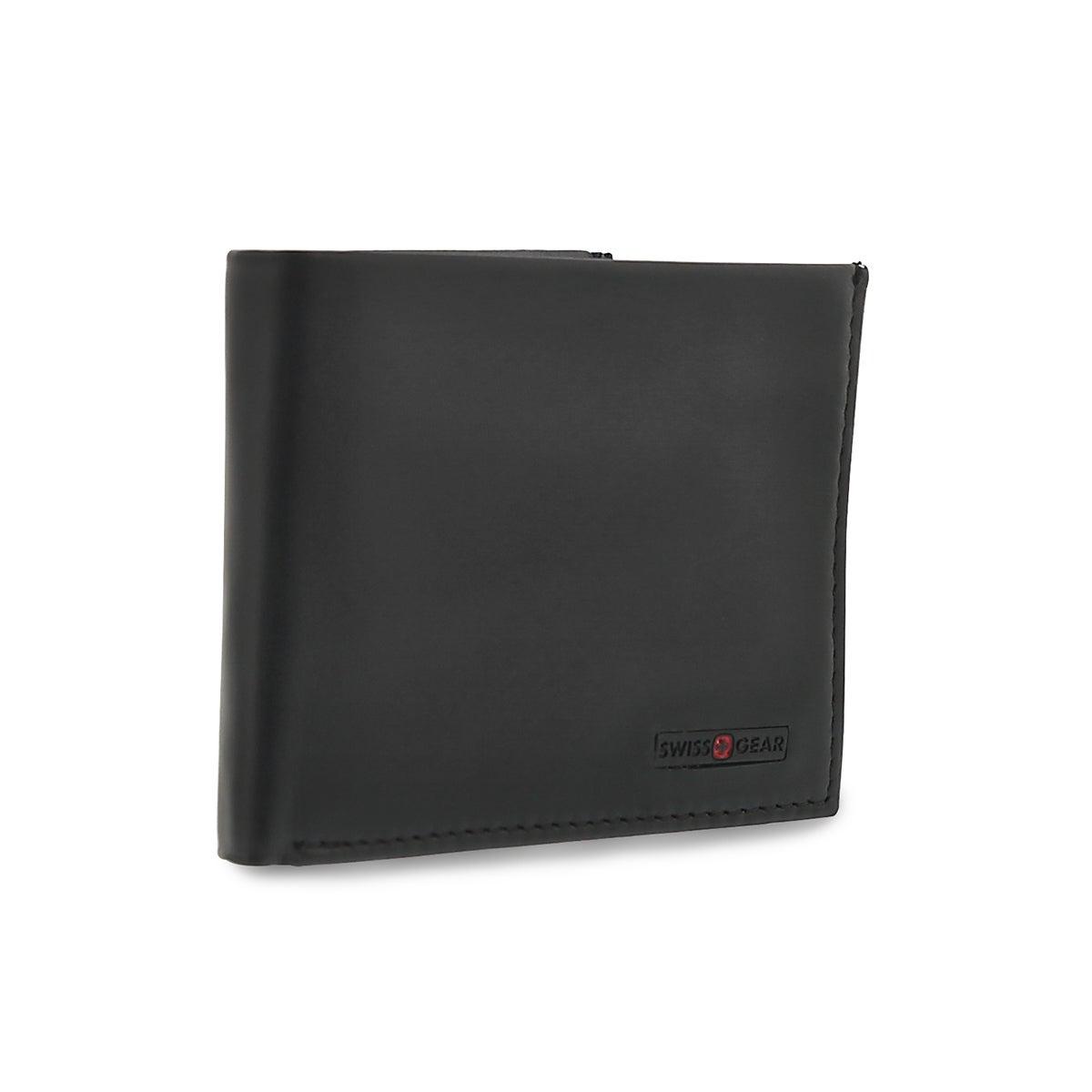 Mns black billfold remov. centre wallet
