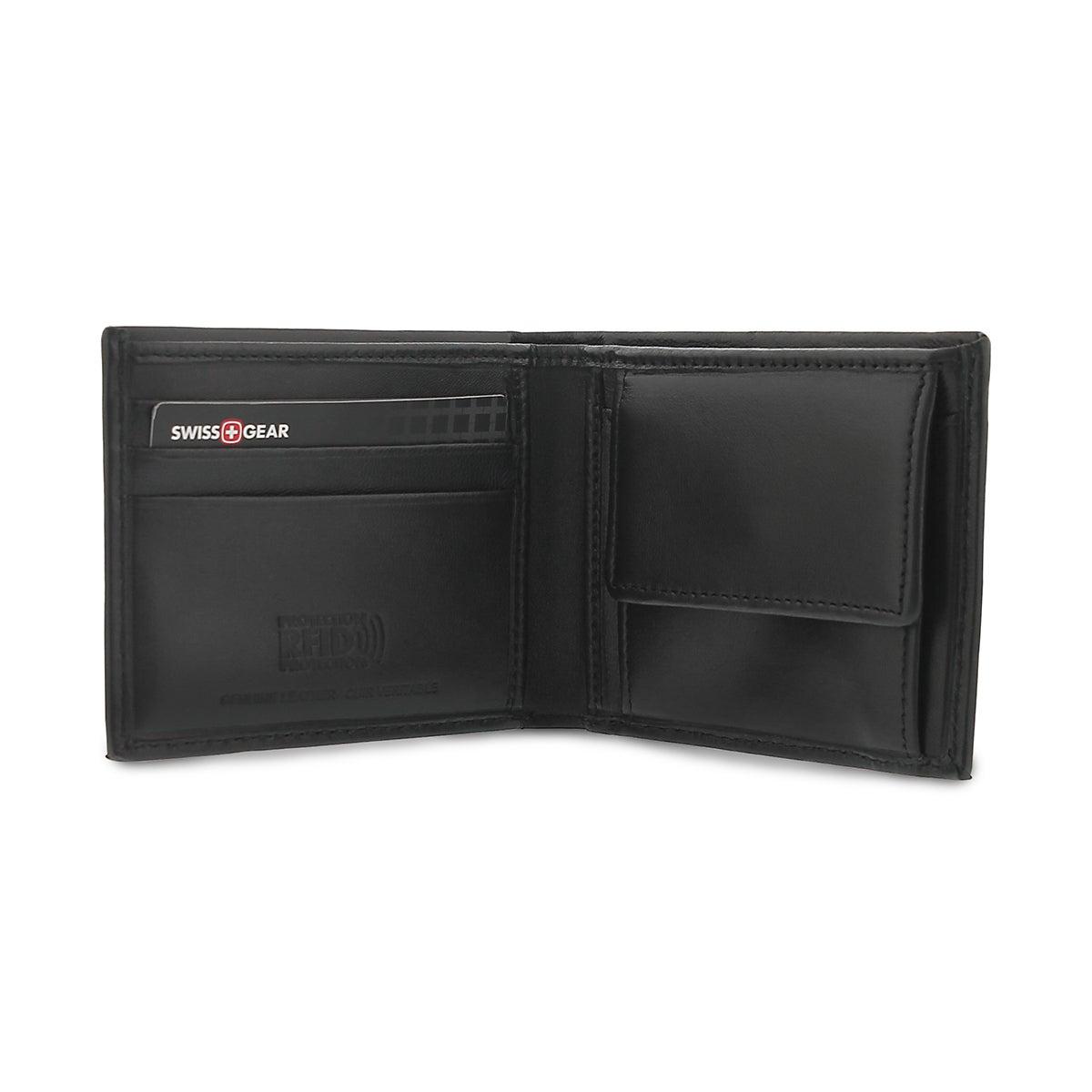 Mns black billfold coin pocket wallet